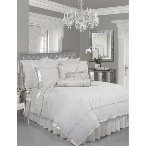 Sumptuous Bedroom Inspiration In Shades Of Silver: Upholstered Headboard With Nailhead Trim Tutorial