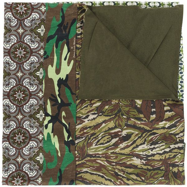 Pierre-Louis Mascia patch-work woven scarf (625 CAD) via Polyvore featuring accessories, scarves, green, colorful shawl, multi colored scarves, woven scarves, green scarves and green shawl