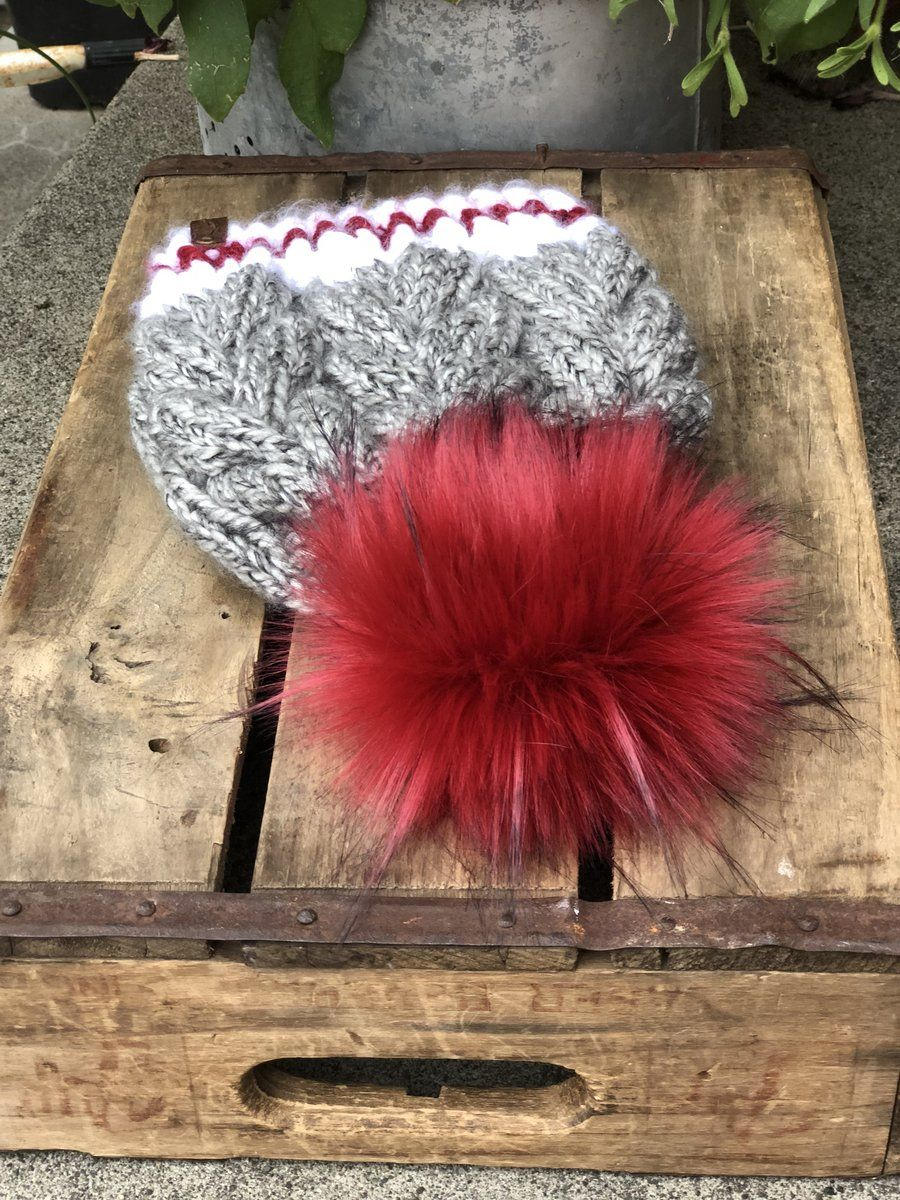 559a32eb56c Braided Cable Beanie Fitted Sock Monkey Ruby Red Faux Fur Pom Pom –  KitchenKlutter