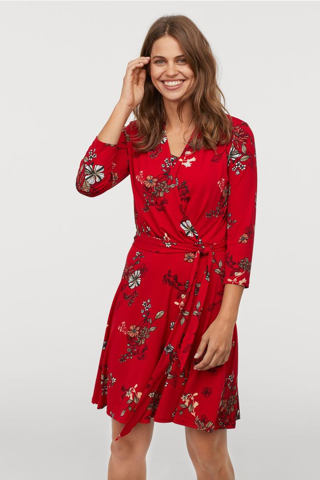 4348605724a MAMA Nursing Dress - Red floral - Ladies
