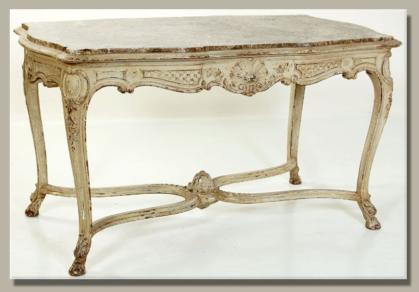 Antique French Regence Painted Marble Top Center Table  Chalk