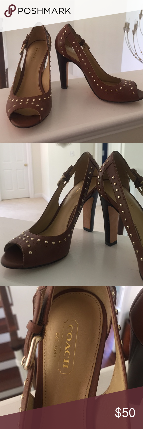 Worn twice coach size 6 studded heels! Only worn twice greasy condition coach brown studded heels! Make an offer! Coach Shoes Heels