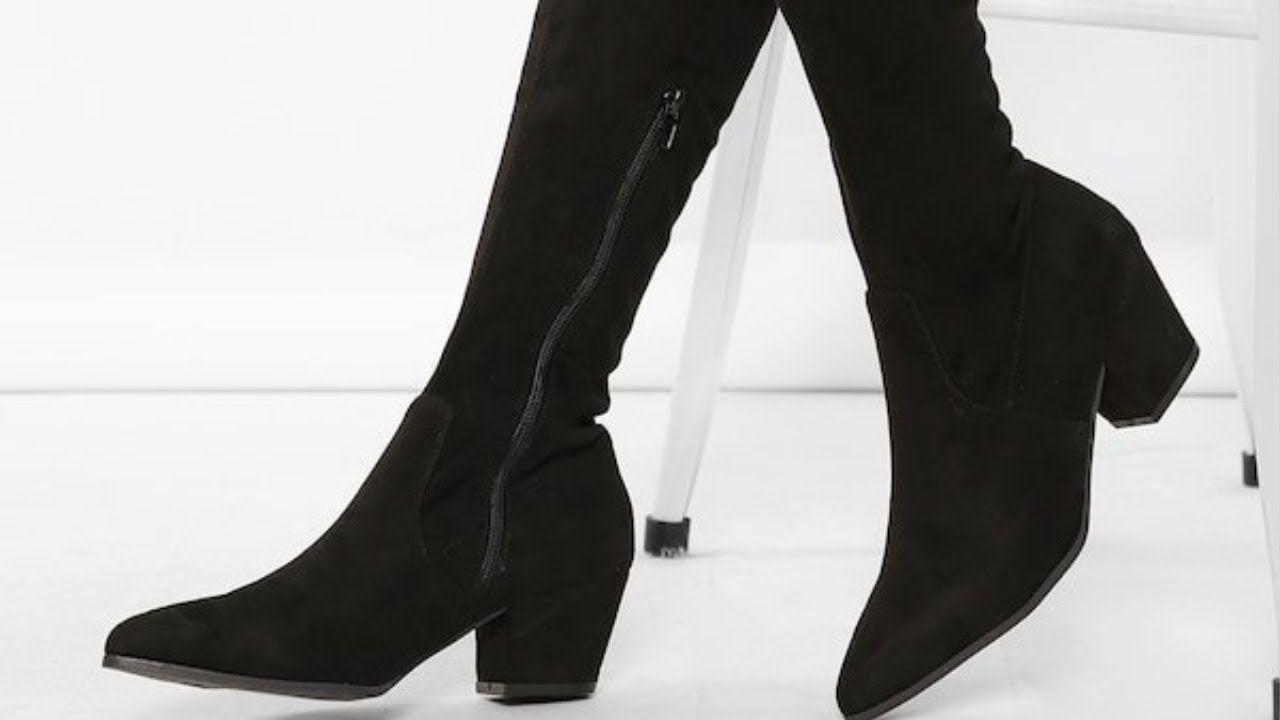 جزم بوت نسائي احذية شتوية كعب عالي Knee Boots Boots Over Knee Boot