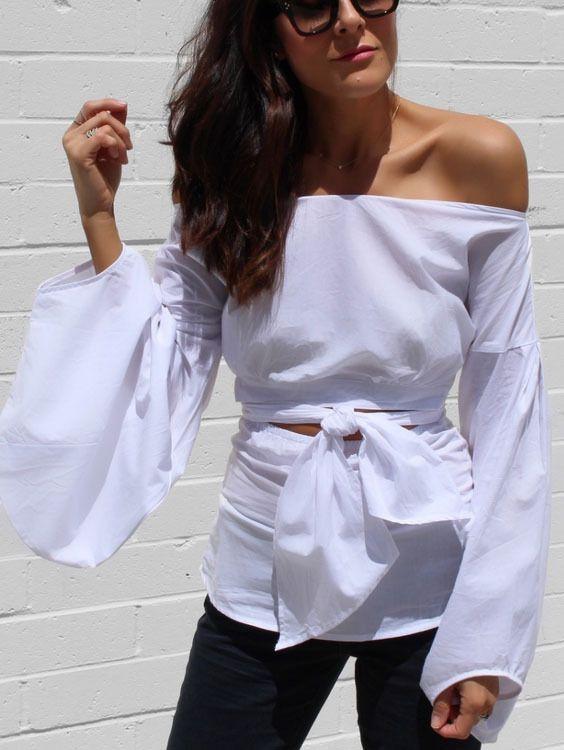 0e65de972b White Puff Sleeve Off-the-shoulder Self-tie Front Blouse -SheIn(Sheinside)