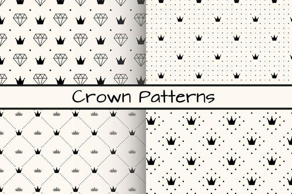 FREE! Check out 4 Monochrome Crown Patterns by Svetolk on Creative Market