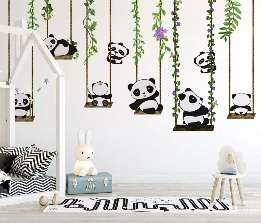 Panda Bears With Swing Wallpaper Mural Kids Wall Murals Nursery