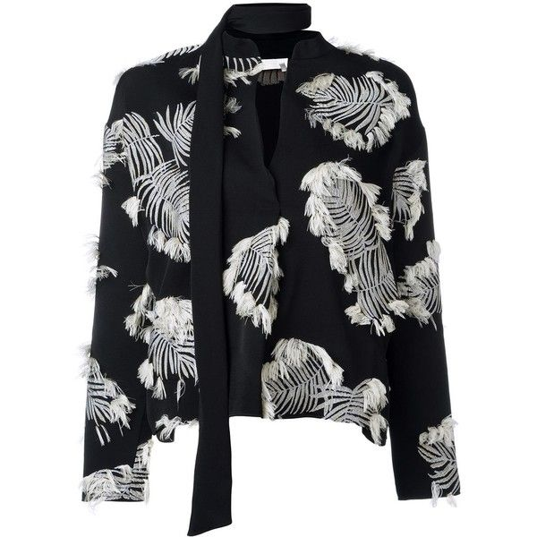 Chloé palm jacquard blouse ($1,895) ❤ liked on Polyvore featuring tops, blouses, black, patterned tops, long sleeve v neck blouse, pattern blouses, fringe blouse and embroidered tops