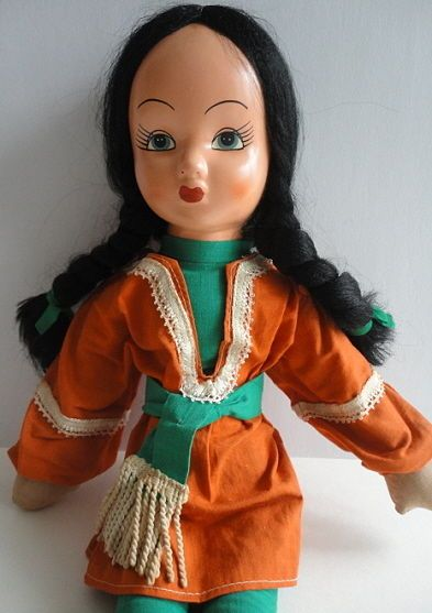1950's Bright Handmade Orange & Green Outfit on Cloth Girl's Bed Room Doll