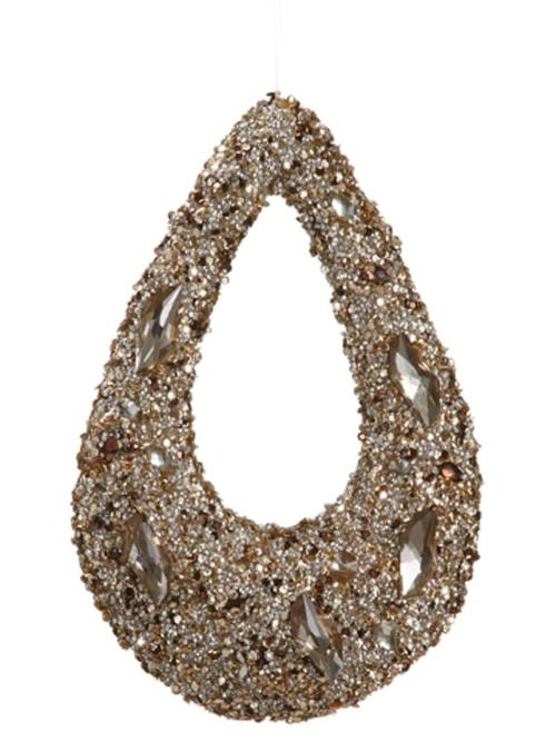 """11"""""""" Golden Encrusted Sequins and Jewels Hoop Christmas Ornament"""