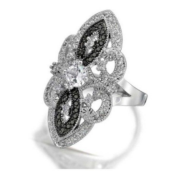 Bling Jewelry Great Gatsby Inspired Black White Vintage Style CZ Armor... ($40) ❤ liked on Polyvore featuring jewelry, rings, black, black band ring, black ring, black and white ring, cubic zirconia band rings and victorian ring
