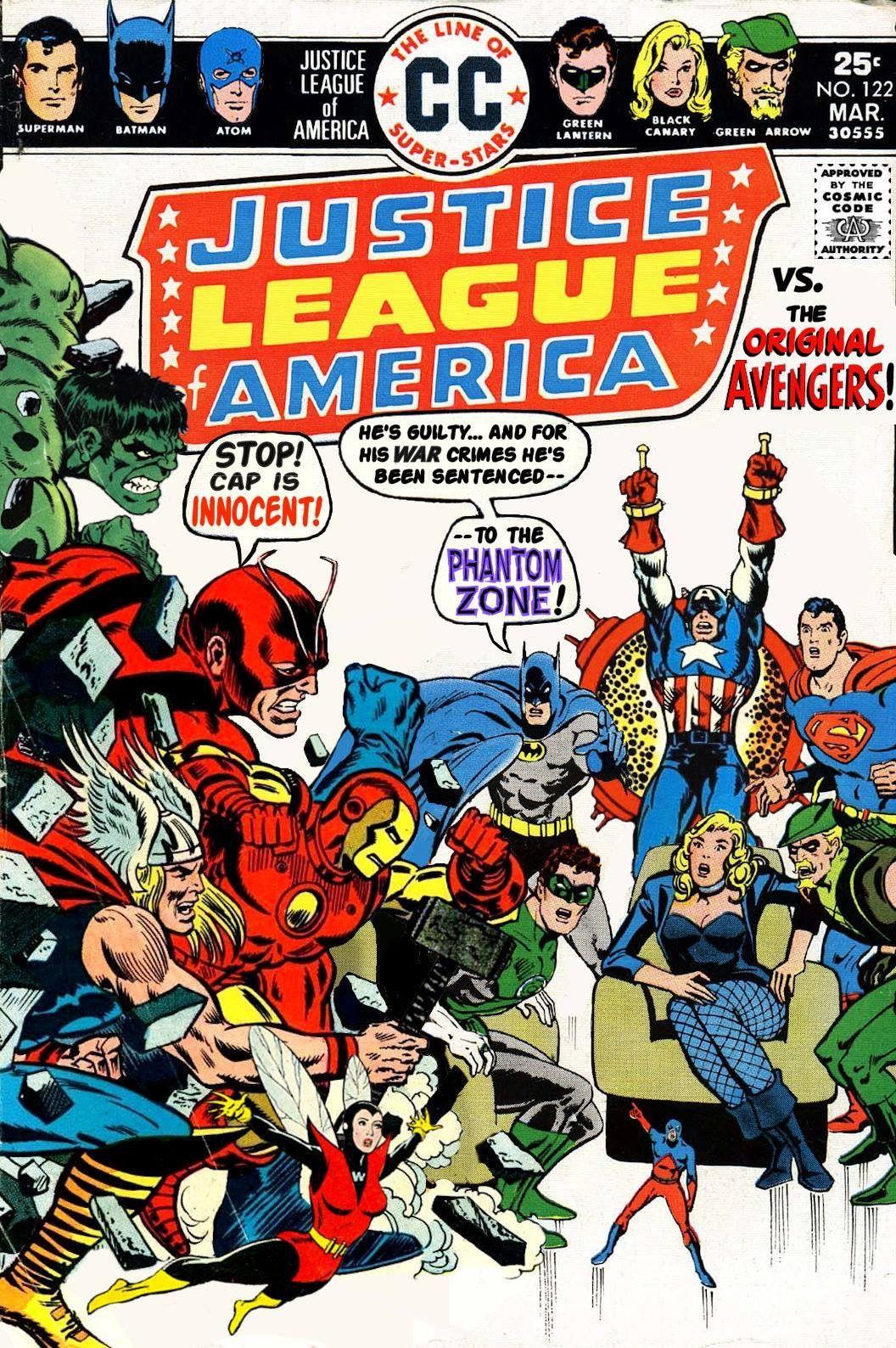 The Justice League Of America Vs The Original Avengers A Mock Cover Marvel Comics Superheroes Dc Comic Books Dc Comics Vs Marvel