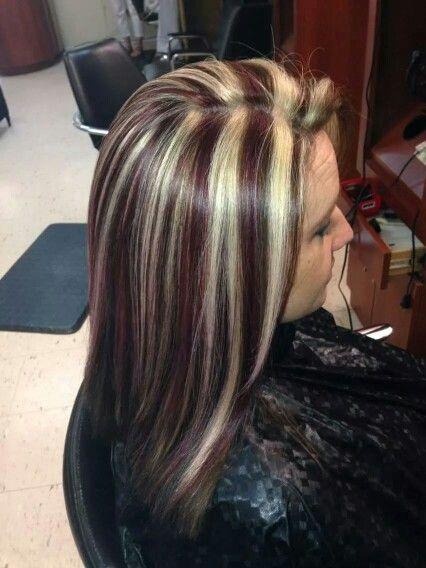 Red Brown And Blonde Streaks Hair By Marissa In 2019