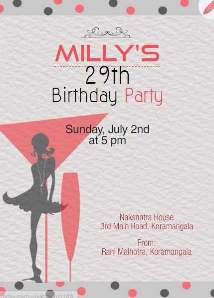 women turning 29 birthday invitation card for cocktail party