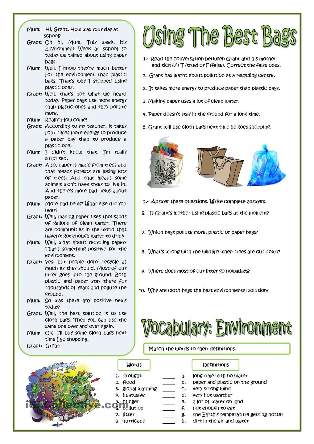 Using The Best Bags English Worksheets For Kids Best Bags Esl Vocabulary [ 1440 x 1018 Pixel ]