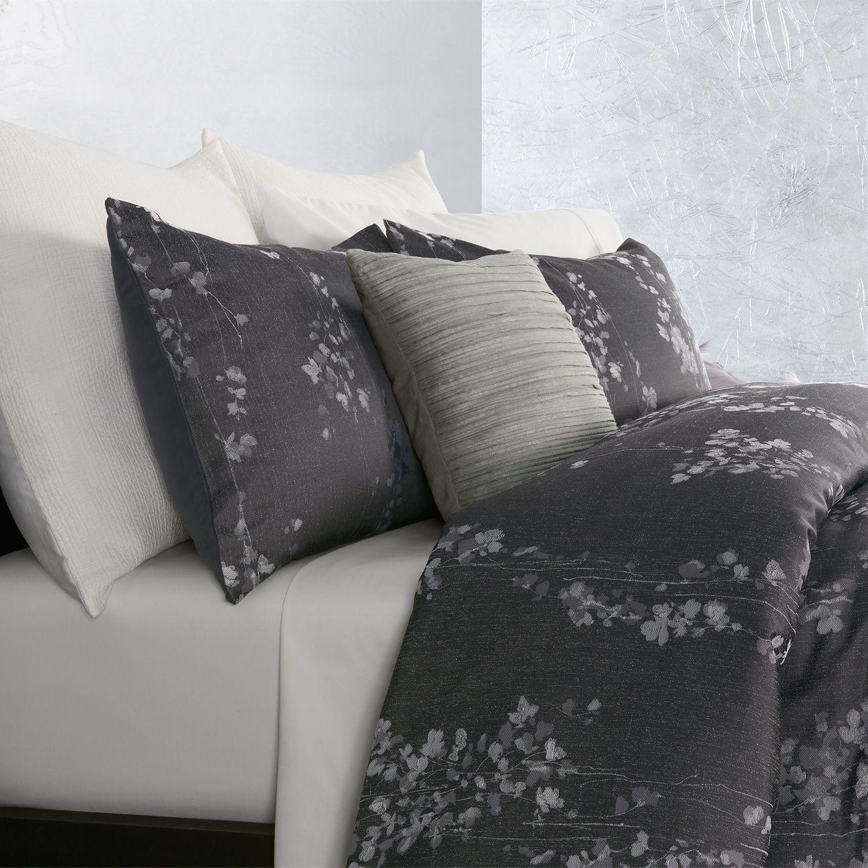 Simply Vera Vera Wang Dark Linear Floral 3 Piece Comforter Set