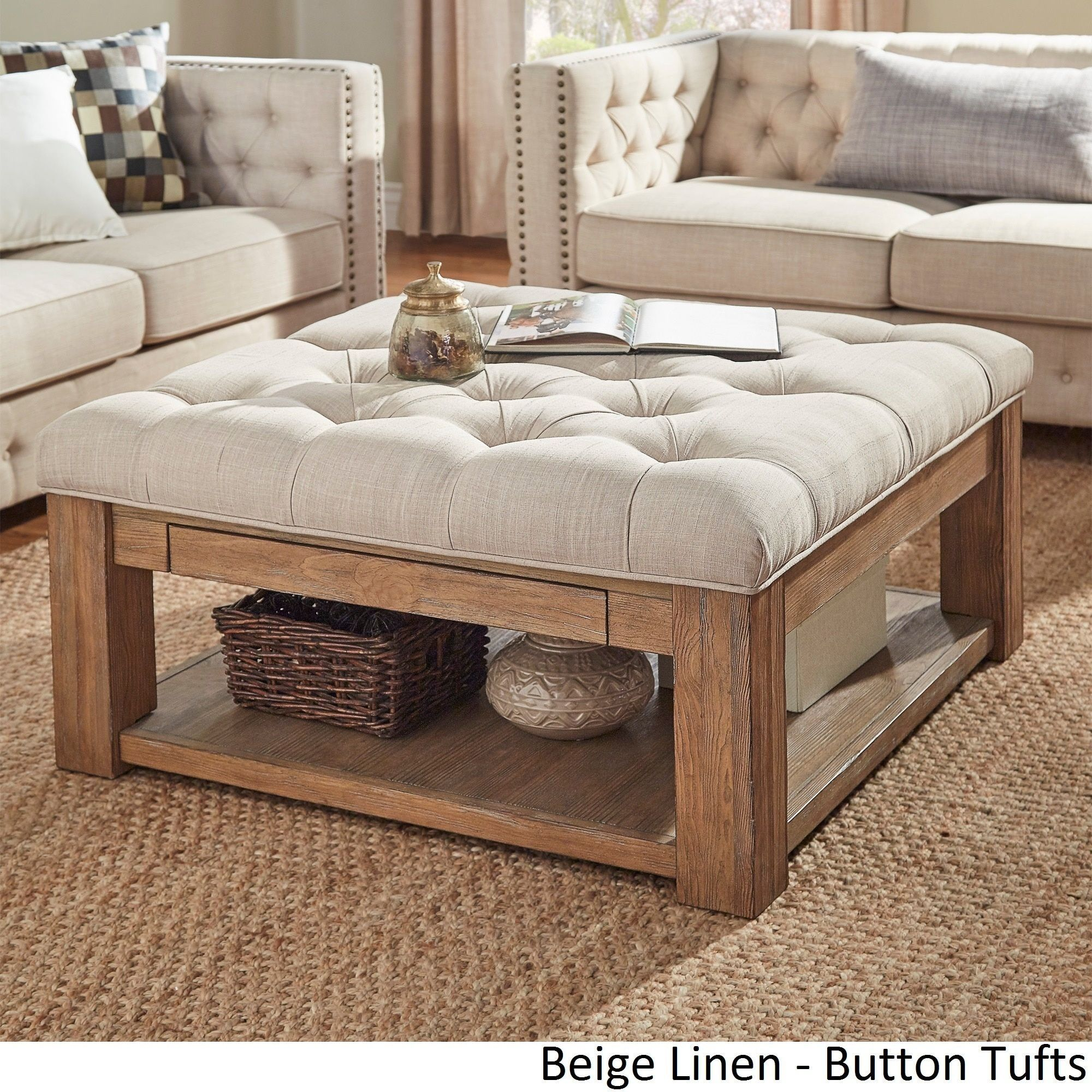 Lennon Pine Square Storage Ottoman Coffee Table By INSPIRE Q Artisan  ([Beige Linen]  Button Tufts) (Fabric)