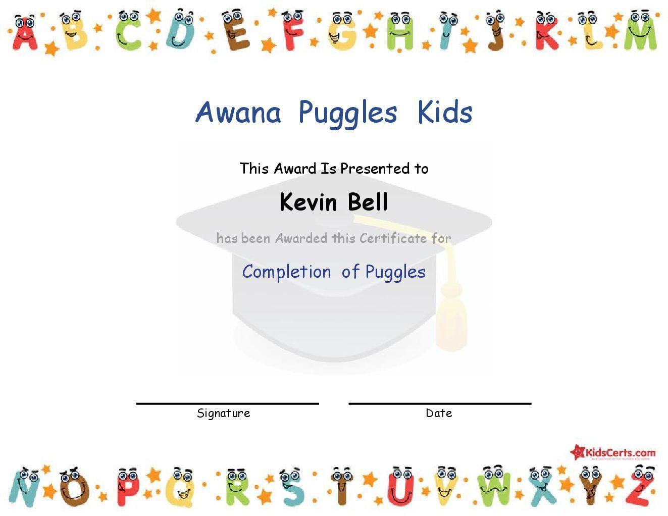 Awana Puggles Kids