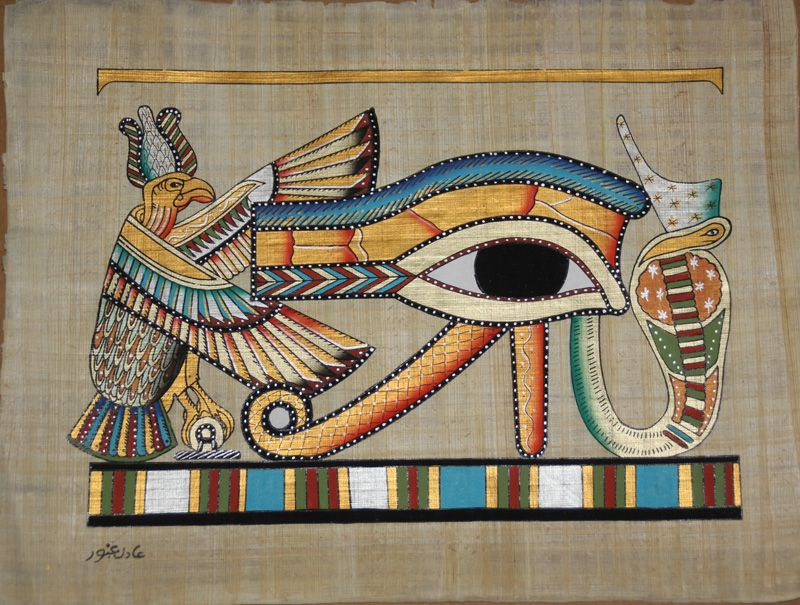 Wall art egyptian papyrus the eye of hours hand painting for Egyptian mural art