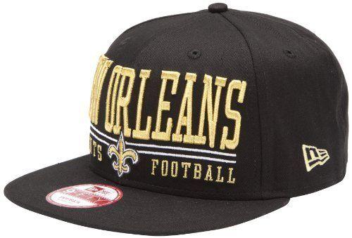 875e19b8 NFL Unisex Adult New Orleans Saints Lateral Snapback Cap (Black, One ...