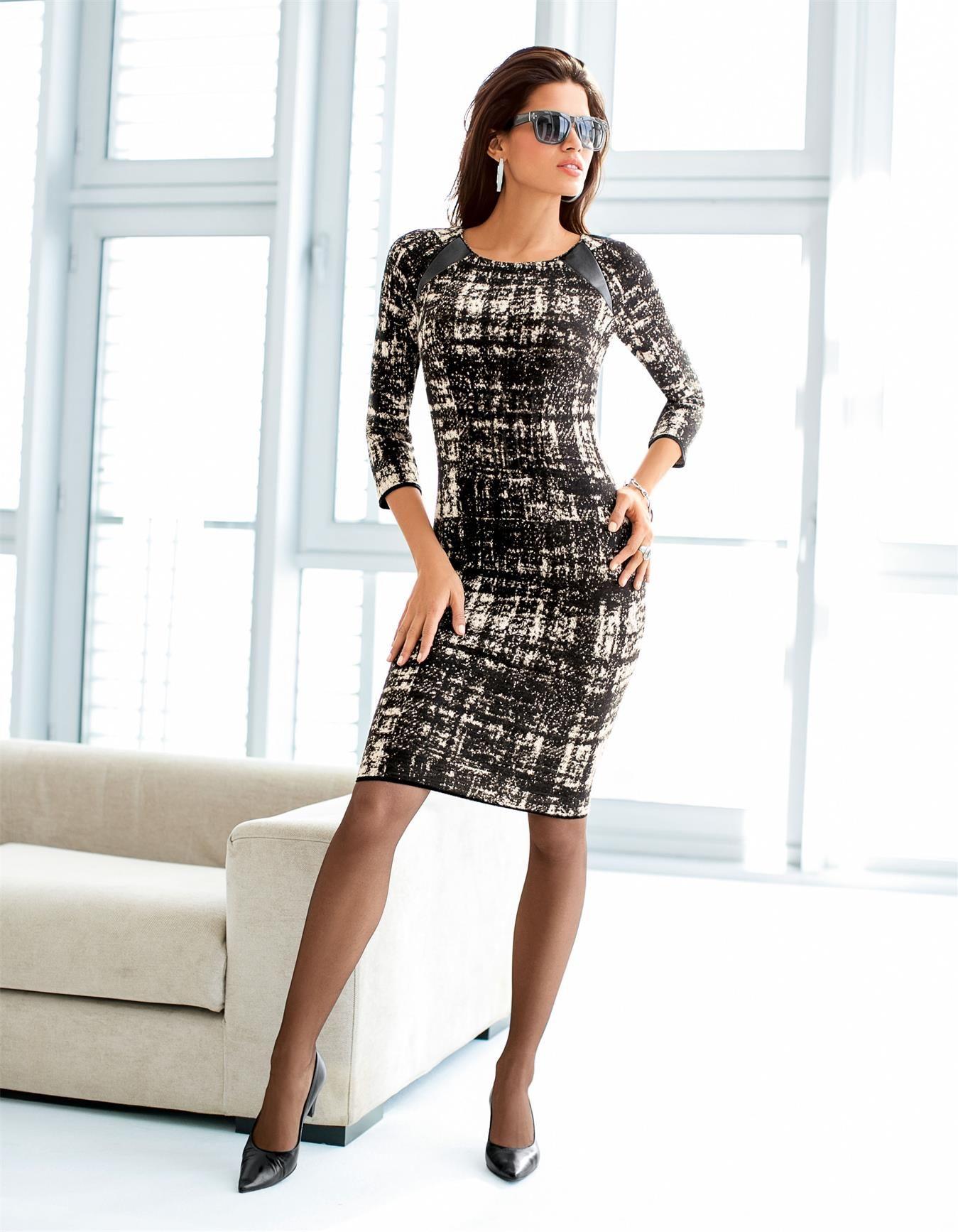 jacquard strickkleid in der farbe schwarz kitt grau. Black Bedroom Furniture Sets. Home Design Ideas