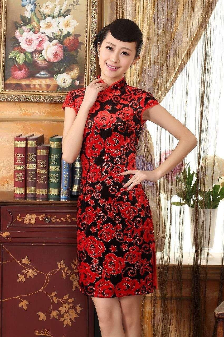 Short length velvet fabric cheongsam qipao chinese dress td