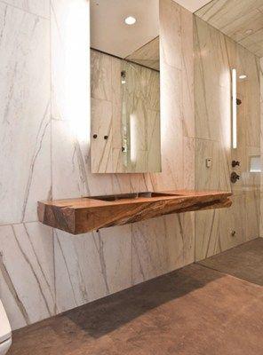 Mensolone sospeso in legno massello con lavabo scavato 180x55x20 ...