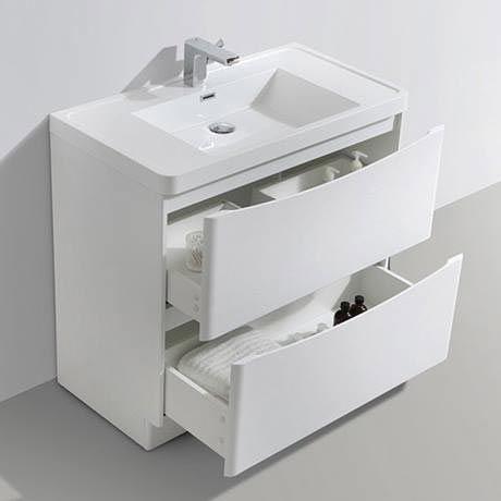 Ronda White Ash 900mm Wide Floor Standing Vanity Unit ...