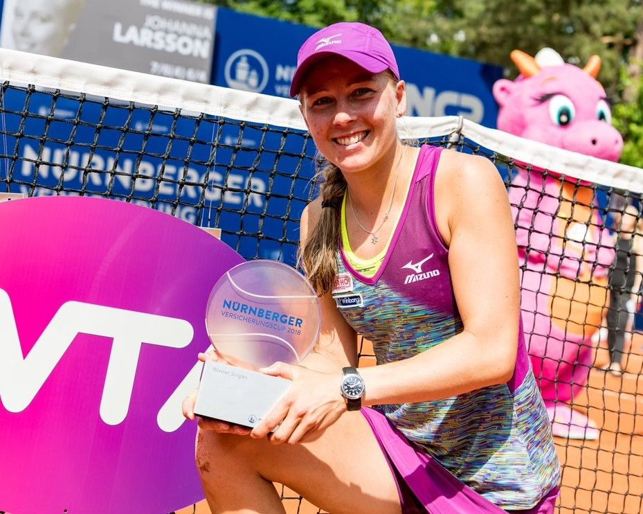 26 May 2018 Johanna Larsson From Sweden Defeated Us American Alison Riske In Straight Sets 7 6 4 6 4 In Saturday S Final To Clinc American Trucker Hat Hats