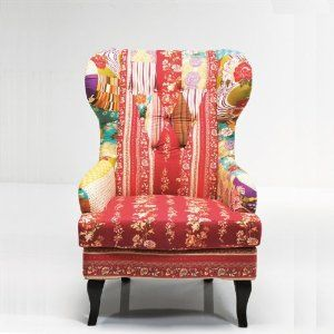 Lovely Patchwork Design Armchair Multicoloured Upholstered Fabric