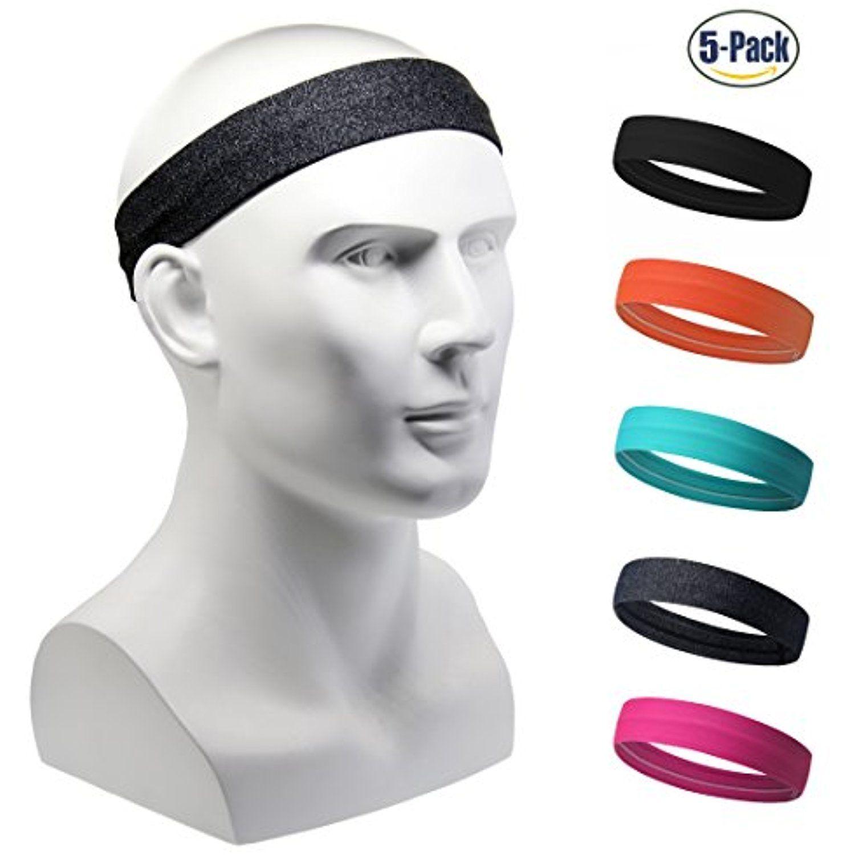 Set of 5 Women s Yoga Sport Athletic Headband For Running Sports Travel  Fitness Elastic Wicking Non Slip Lightweight Multi Style Bandana Headbands  Headscarf ... 5af774aeeba