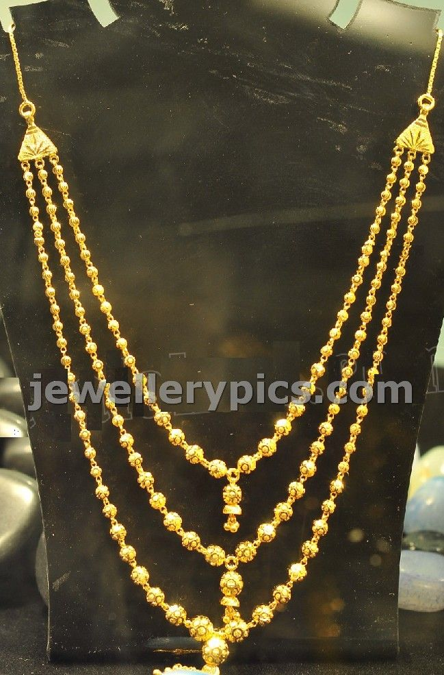 3 Step Chandra Haram With Gold Beads Dd Ball Latest Jewellery Designs Gold Necklace Designs Gold Jewelry Fashion Gold Jewellery Design Necklaces