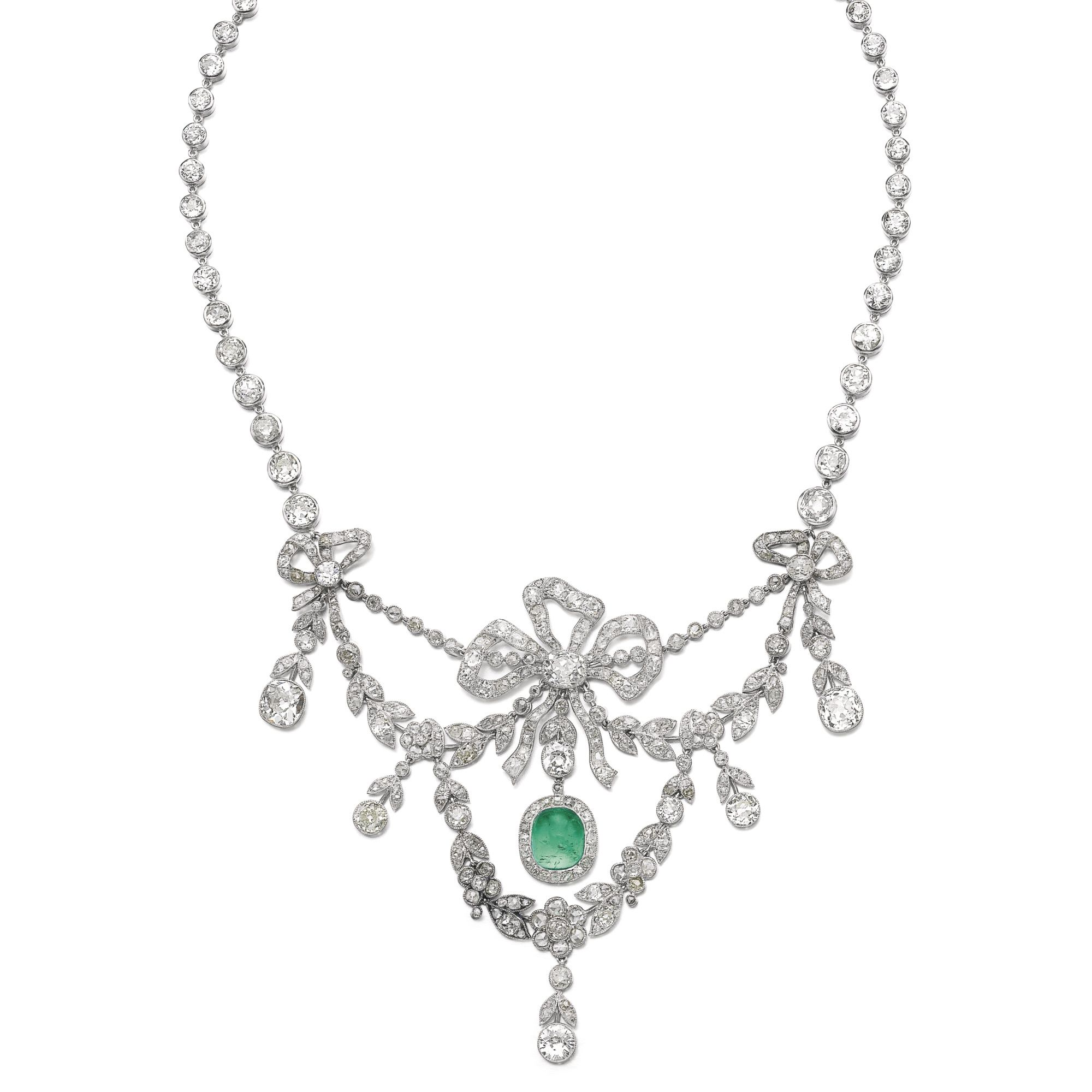 Emerald and diamond necklace circa and later the front of