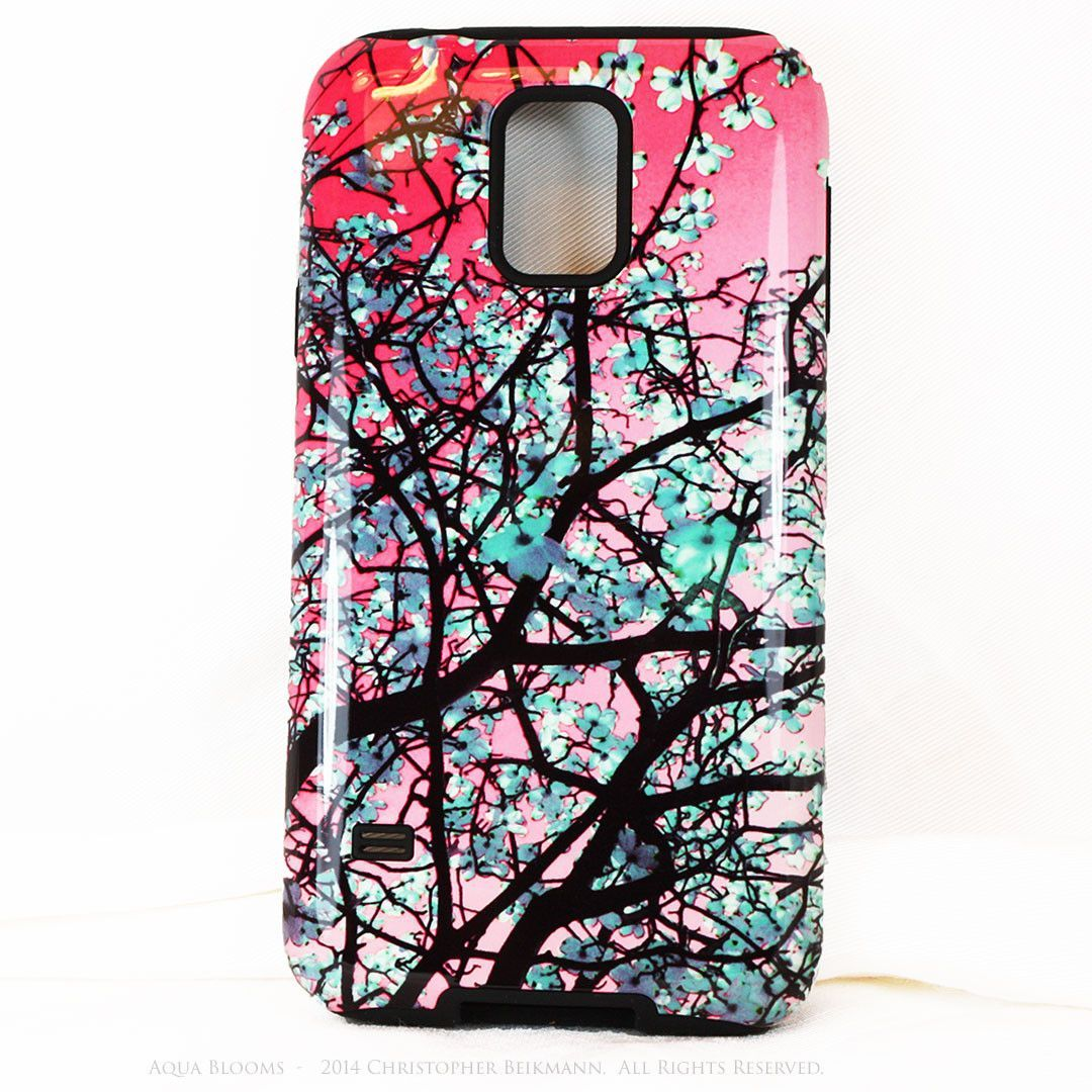 Aqua Blooms Floral Galaxy S5 case - Premium Tough Case - Pink & Turquoise Tree Blossoms