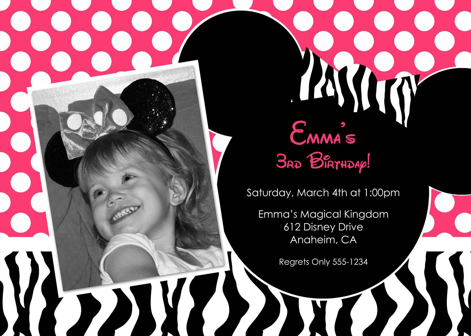 Hot Pink Zebra Print Minnie Mouse Custom Photo Birthday Party ...