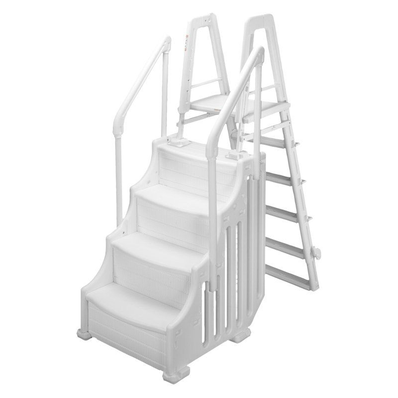 Swim Time Simple Step Above Ground Pool Ladder Ladders Scaffolding At Hayneedle Above Ground Pool Ladders Above Ground Pool In Ground Pools