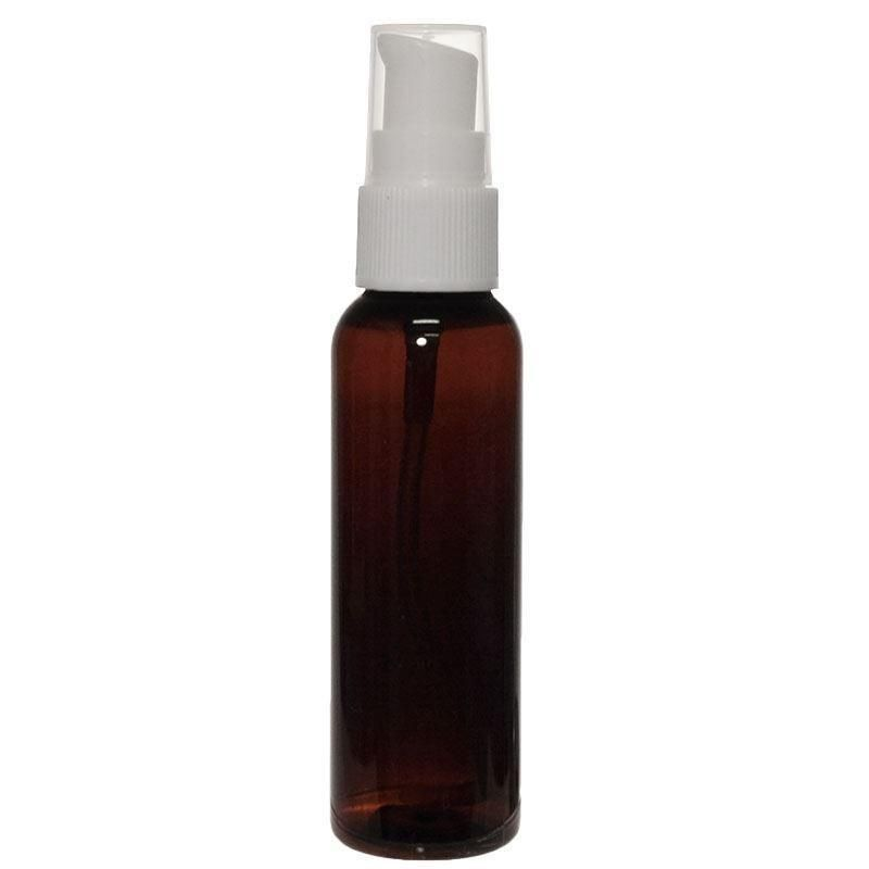 60 ML Plastic Amber Bullet (Cosmo Round) Bottle with White Cream Pump (PET) (20/400)