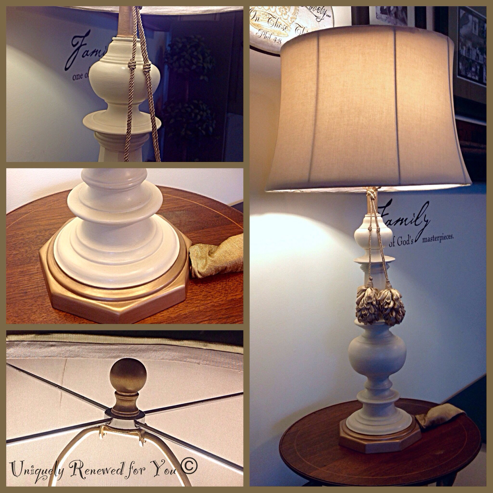 Vintage Stiffel Brass Lamp Updated With Annie Sloan Chalk Paint 50 50 Pure White Old White Aged Gold Leaf Brass Lamp Lamp Vintage Furniture