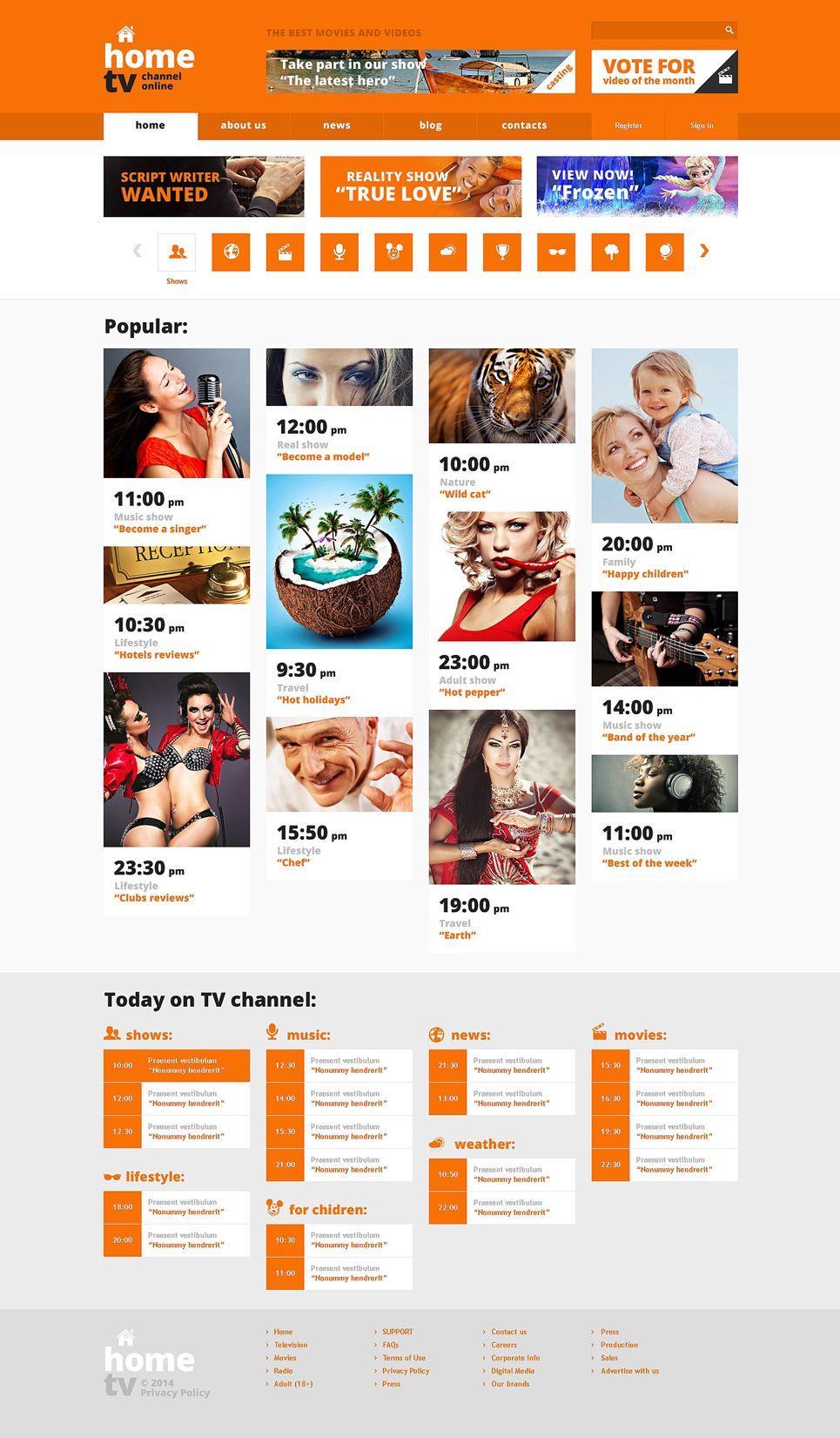 TV Channel Responsive Website Template   Design Ideas
