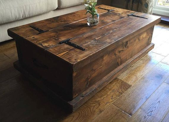 Rustic Style Chest Coffee Table Available In A Dark Oak