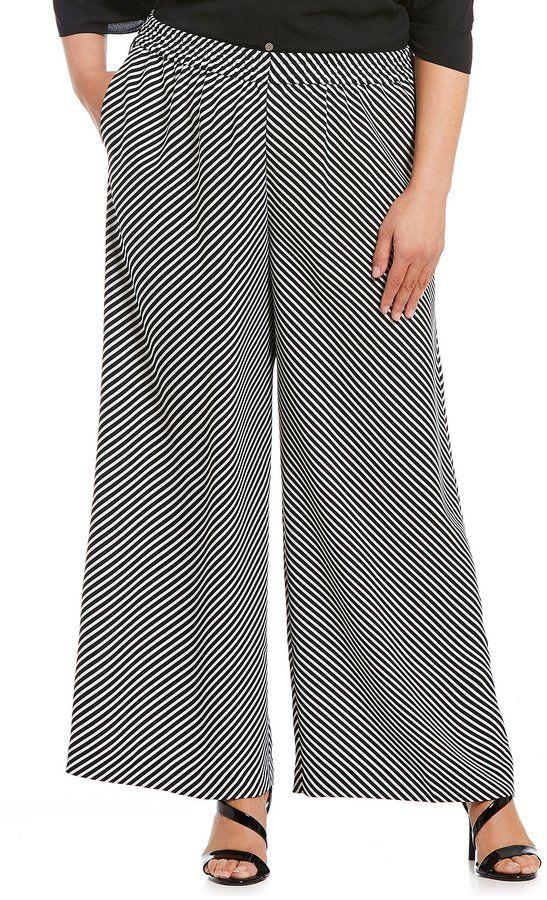 98cee12ecb9 Vince Camuto Plus Diagonal Stripe Wide Leg Pant