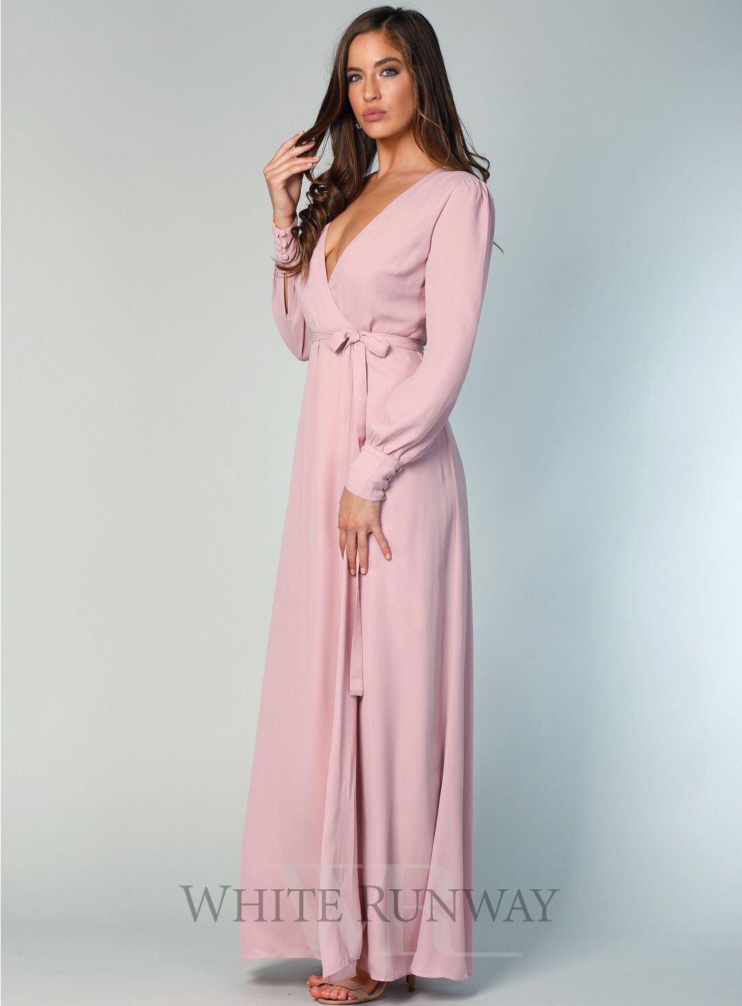Floor Length Dresses with Buttoned Sleeves
