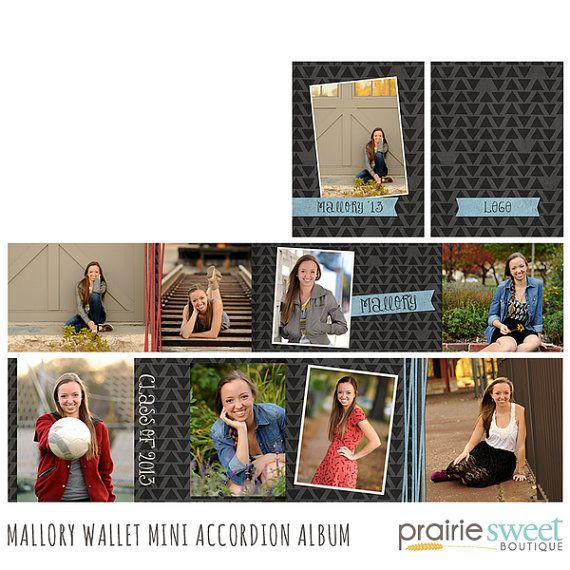 Mallory Wallet Accordion Photo Album for Seniors, Family, Everyday, and More - 4 Files - Photoshop Templates for Photographers - AW2001