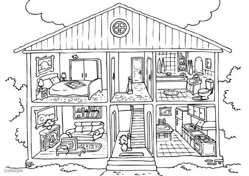 Coloring Page House Interior Img 25995 House Colouring Pages Free Coloring Pages Coloring Pages For Kids