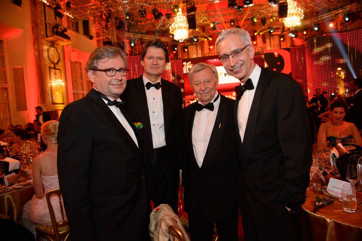ORF-Generaldirektor Alexander Wrabetz, KURIER-Chefredakteur Helmut Brandstätter, Hugo Portisch und Reinhard Scolik. #Romy14