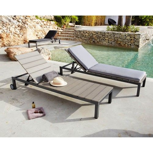 Aluminium sunlounger on wheels in charcoal grey L 205cm | Patio ...