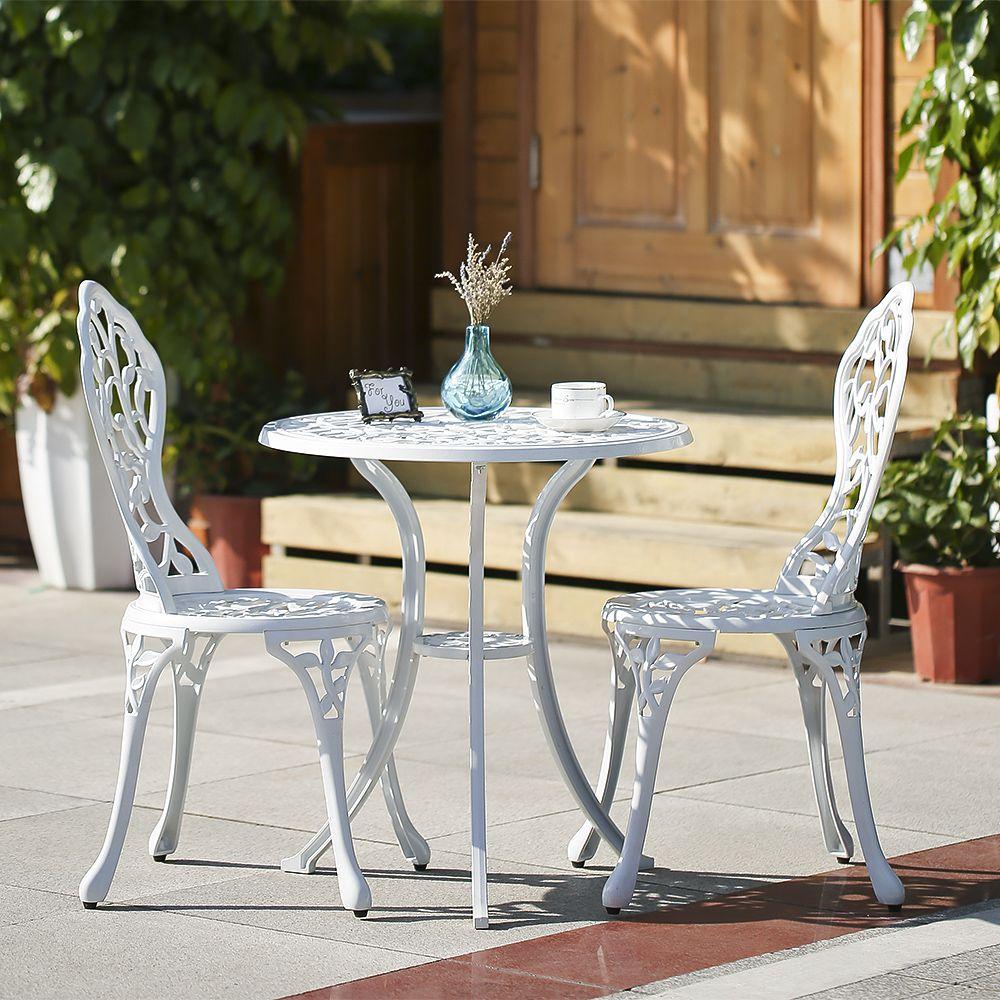 White Ikayaa 3pcs Modern Outdoor Patio Bistro Set Aluminum Porch