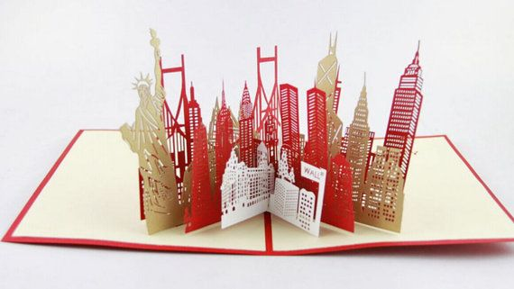 New York City Skyline In Pop Up Card Greeting Card 3d Gift Card Gift For Travelers Pop Up Cards Pop Up Pop Up Book