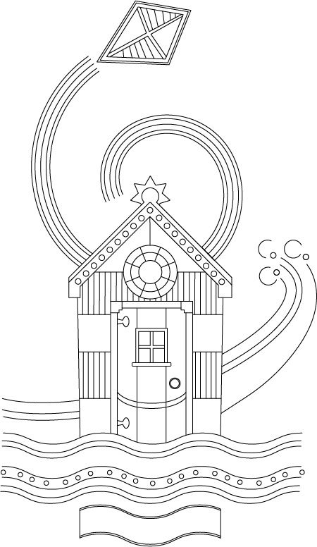 Free Summer Holiday Beach Hut Coloring Page