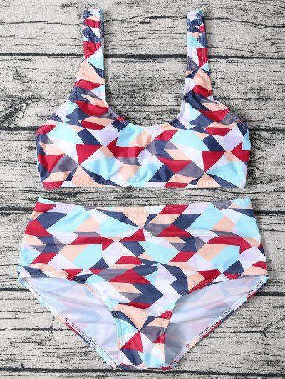 Geometric Pattern High Waisted Bikini Set   Psychedelic Monk