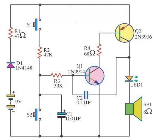 electronic siren circuit is a loud noise making device civil rh pinterest com electronic siren schematic electronic siren circuit project